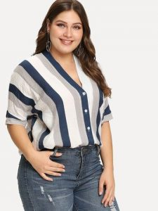 Striped Plus Size Summer Shirts