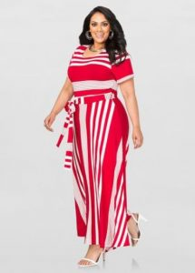 Striped Plus Size T-shirt Maxi Dress