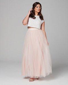 Tulle Maxi Skirt In Plus Size