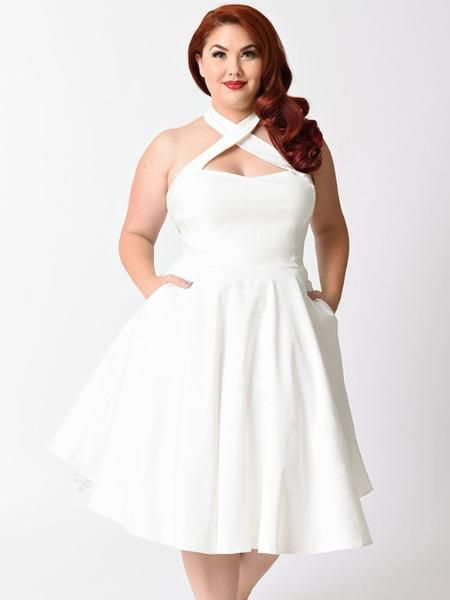 White Flare Halter Dress