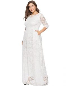 White Lace Maxi Dress Plus Size
