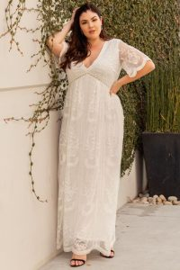 White Lace Mesh Maxi Dresses