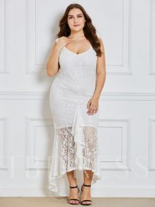 White Lace Plus Size Maxi Dress