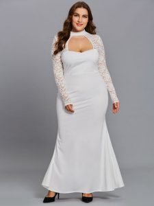 Women's Plus Size White Lace Maxi Dress