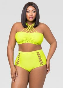 Yellow Plus Size Swimsuit For Women