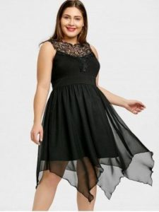 Black Plus Size Handkerchief Dress