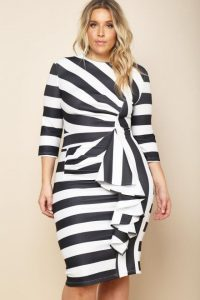 Black and White Striped Dress Plus Size