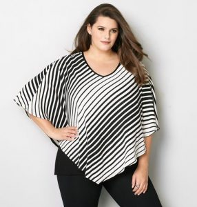 Black and White Striped Poncho Top