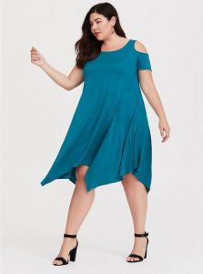 Cold Shoulder Handkerchief Dress
