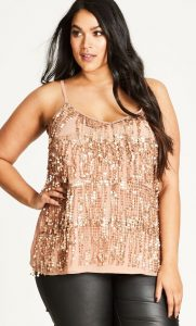 Gold Party Tops Plus Size