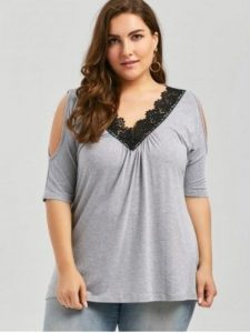 Lace Trim Flowy Tops In XL