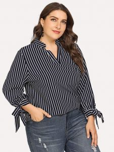 Long Sleeve Black and White Striped Shirt