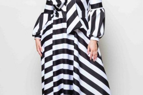 Plus Size Black and White Striped Maxi