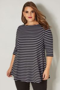 Plus Size Black and White Striped Shirt