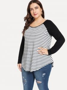 Plus Size Black and White Striped T-Shirt
