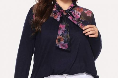 Plus Size Bow tie Blouse