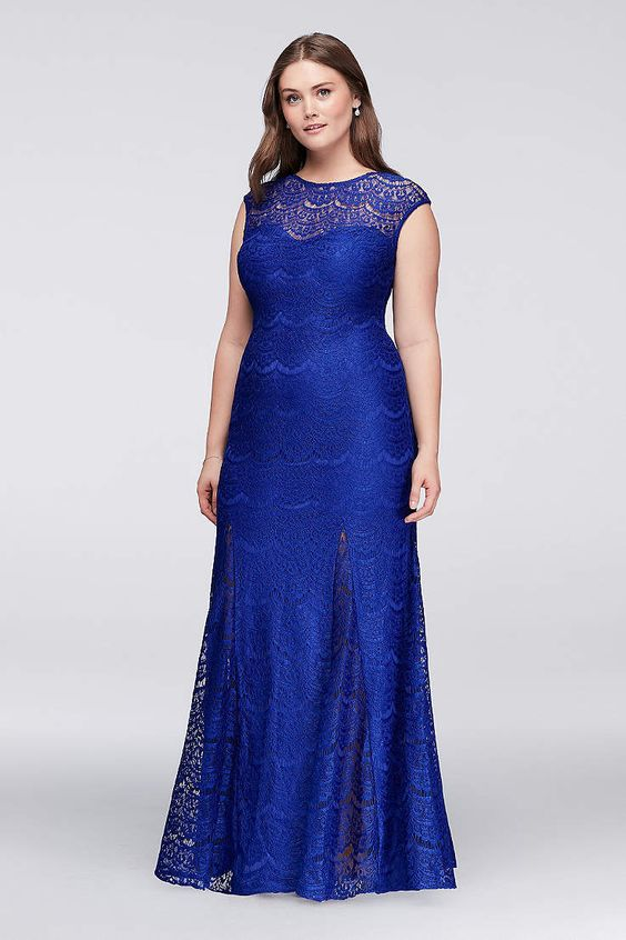 Plus Size Royal Blue Mermaid Prom Dresses