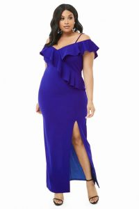 Plus Size Ruffle Dress With Side Split