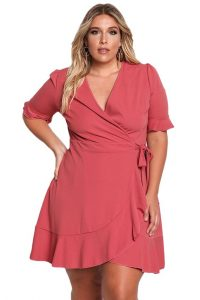 Plus Size Ruffle Short Dress