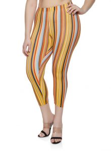 Plus Size Vertical Striped Leggings