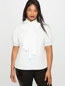 Plus Size White Blouse With Bow