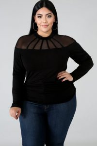 Plus Sized Black Party Tops