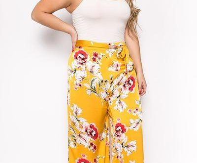 Plus Sized Floral Flowy Pants