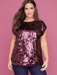 Red Sequin Plus Size Blouse