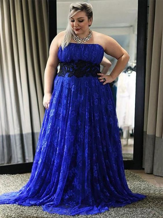 Royal Blue Plus Size Formal Gown