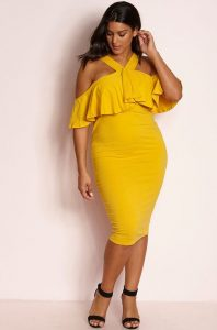 Ruffle Bodycon Plus Size Dress
