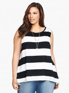 Women's Black and White Striped Shirt