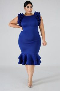 Women's Royal Blue Plus Size Prom Dress