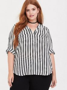 Black and White Striped Shirt Plus Size
