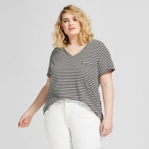Black and White Striped T Shirt Plus Size