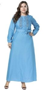 Embroidered Blue Maxi Dresses