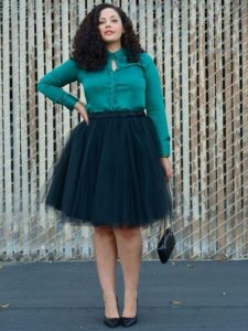 Plus Size Black Tulle Skirt