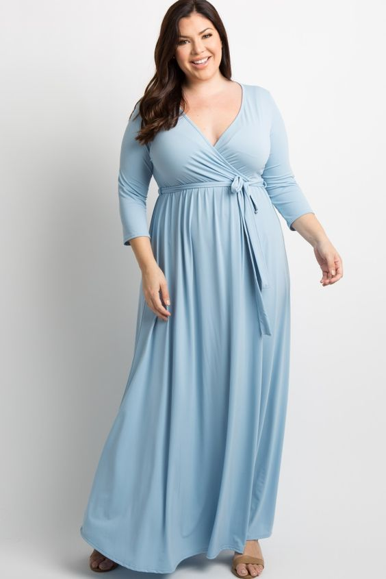 Plus Size Light Blue Maxi Dress