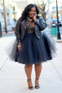 Plus Size Tulle Black Skirt