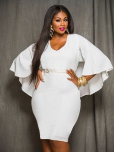 White Cape Sleeve Dress In XL