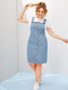 Denim Pinafore Dress In XL
