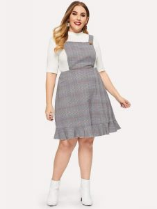Ruffle Hem Pinafore Dress