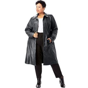 Black Leather Trench Coat for Plus Size