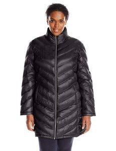 Black Quilted Plus-Size Down Coat