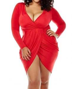 Body Wrap Dress Red