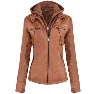 Brown Jacket Leather Curvy