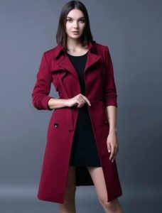 Burgandy Red Trench Coat In XL