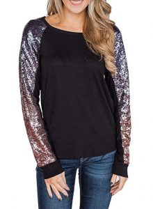 Casual Sequin Top Plus Size