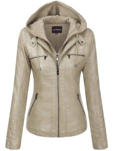 Faux Fur Leather Hooded Jacket