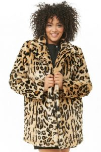 Faux Fur Leopard Coat Plus Size