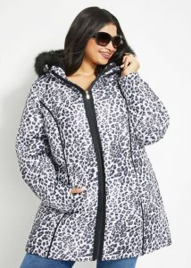 Fur Trim Snow Leopard Coat